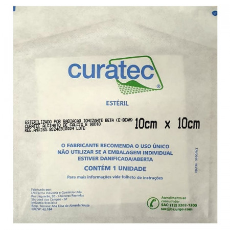 Curativo de Alginato de Cálcio e Sódio 10cm X 10cm Curatec