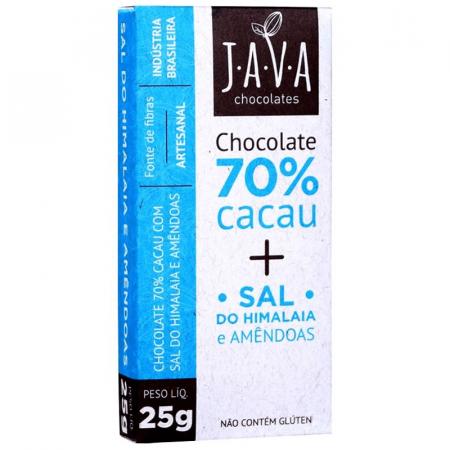 Chocolate 70% Cacau com Sal do Himalaia e Amêndoas 25g Java