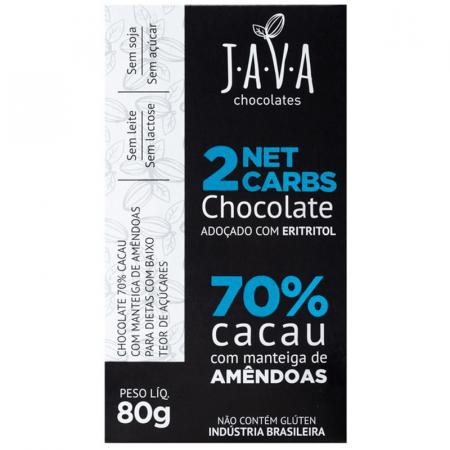 Chocolate 70% Cacau com Manteiga de Amêndoas Adoçado com Eritritol 80g Java