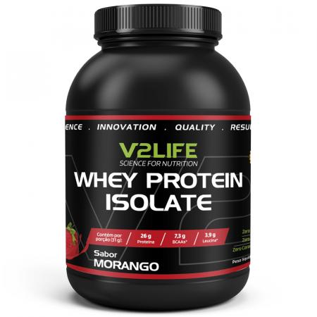 Whey Protein Isolate Morango 900g V2 Life