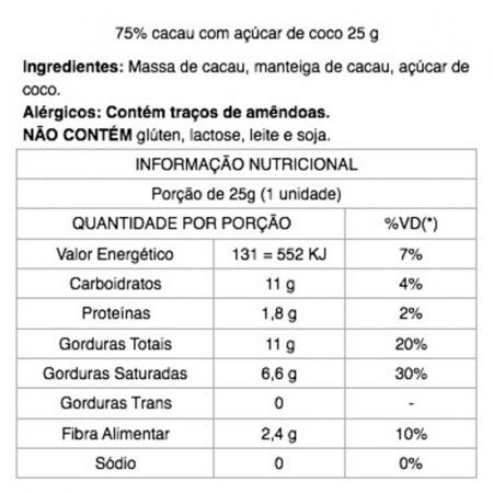 Chocolate 75% Cacau com Açúcar de Coco 25g Java