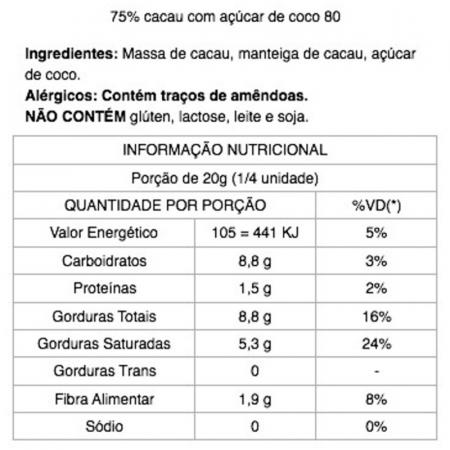 Chocolate 75% Cacau com Açúcar de Coco 80g Java