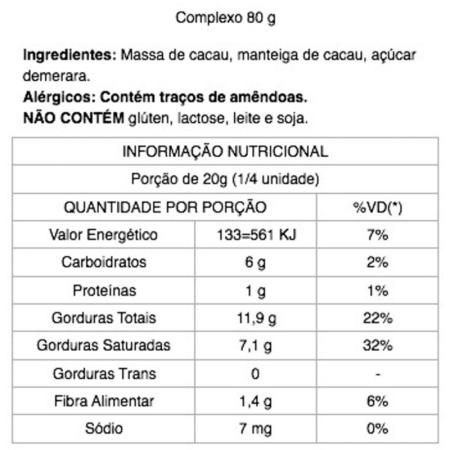 Chocolate Complexo 85% Cacau com Açúcar Demerara 80g Java