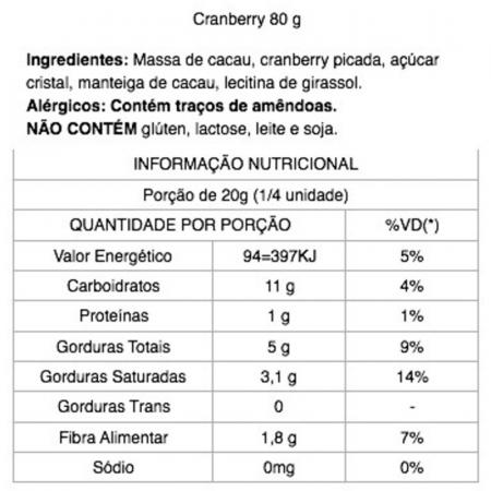 Chocolate 70% Cacau com Cranberry 80g Java