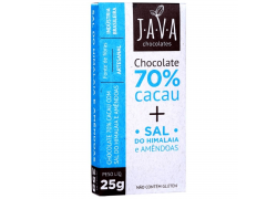 Chocolate 70% Cacau com Sal do Himalaia e Amêndoas 25g Java
