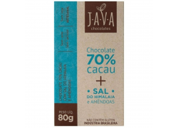 Chocolate 70% Cacau com Sal do Himalaia e Amêndoas 80g Java
